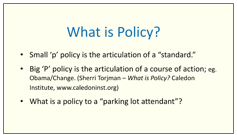 What is policy? - first slide from John Stapleton's course on policy
